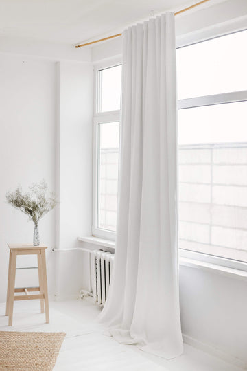 White Linen Curtain With Blackout Lining