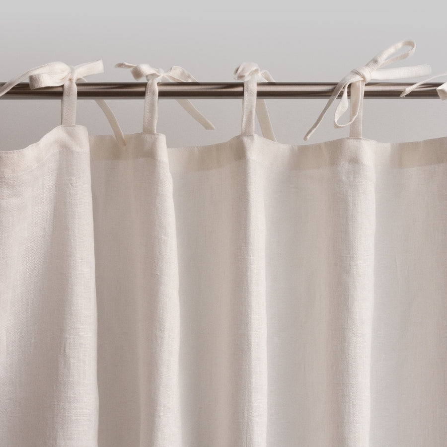 Lightweight White Linen Curtain With Tabs Or Ties