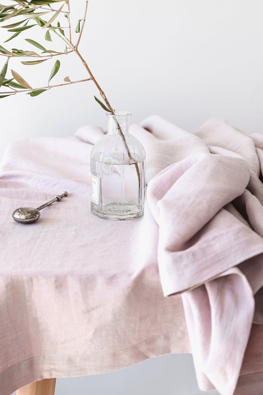 Pastel Pink Linen Tablecloth