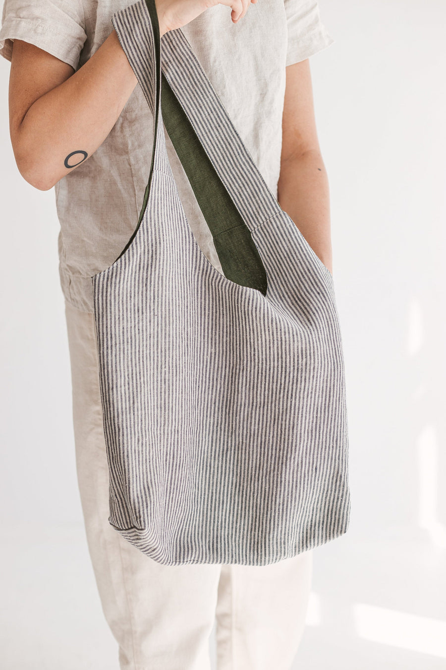 Dark Green Reversible Linen Tote Bag