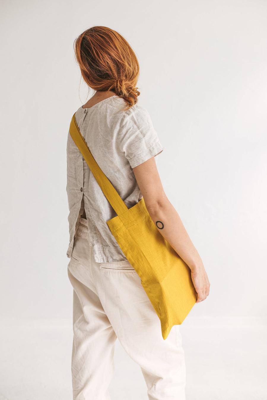 Set Of 2 Honey Linen Tote Bags