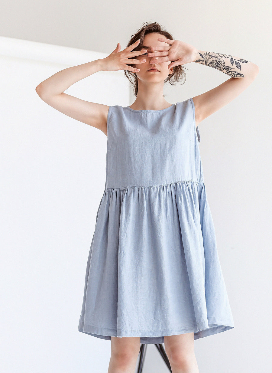 Ice Blue Linen Dress