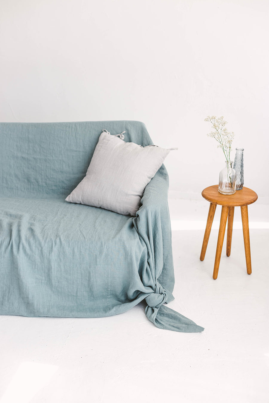 Dusty Aqua Linen Couch Cover