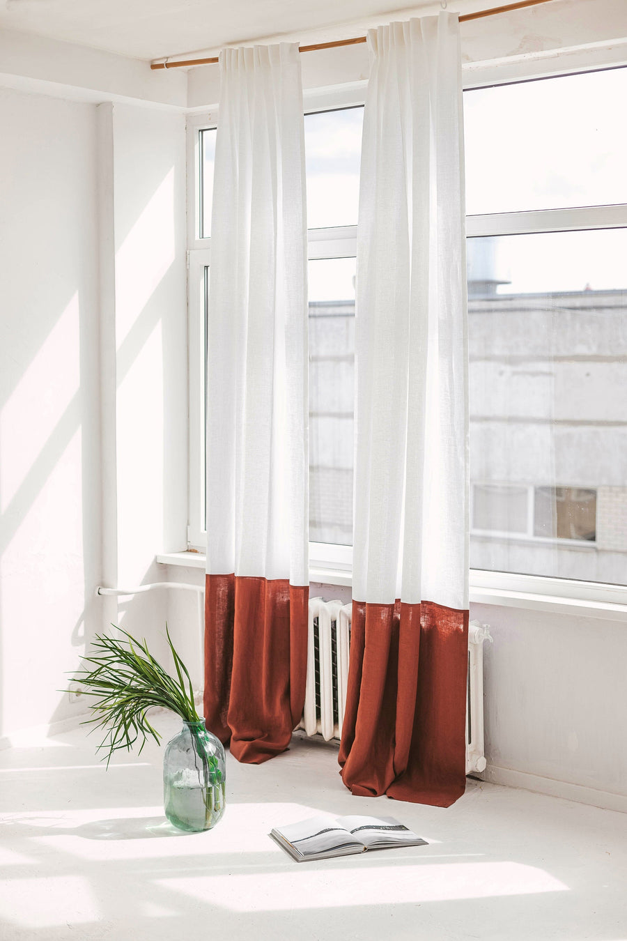 White And Rusty Color Block Linen Curtain