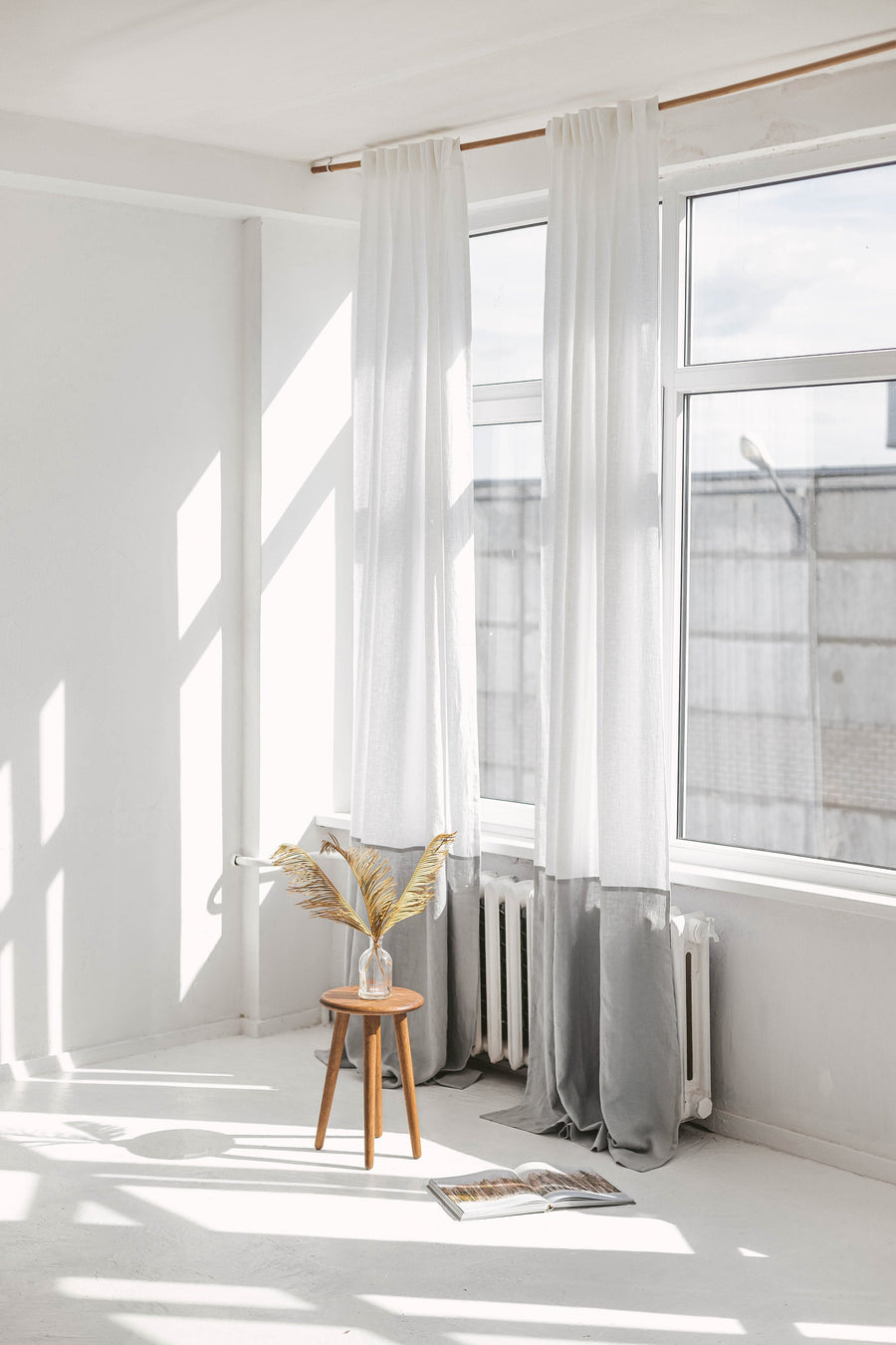 White And Amber Color Block Linen Curtain