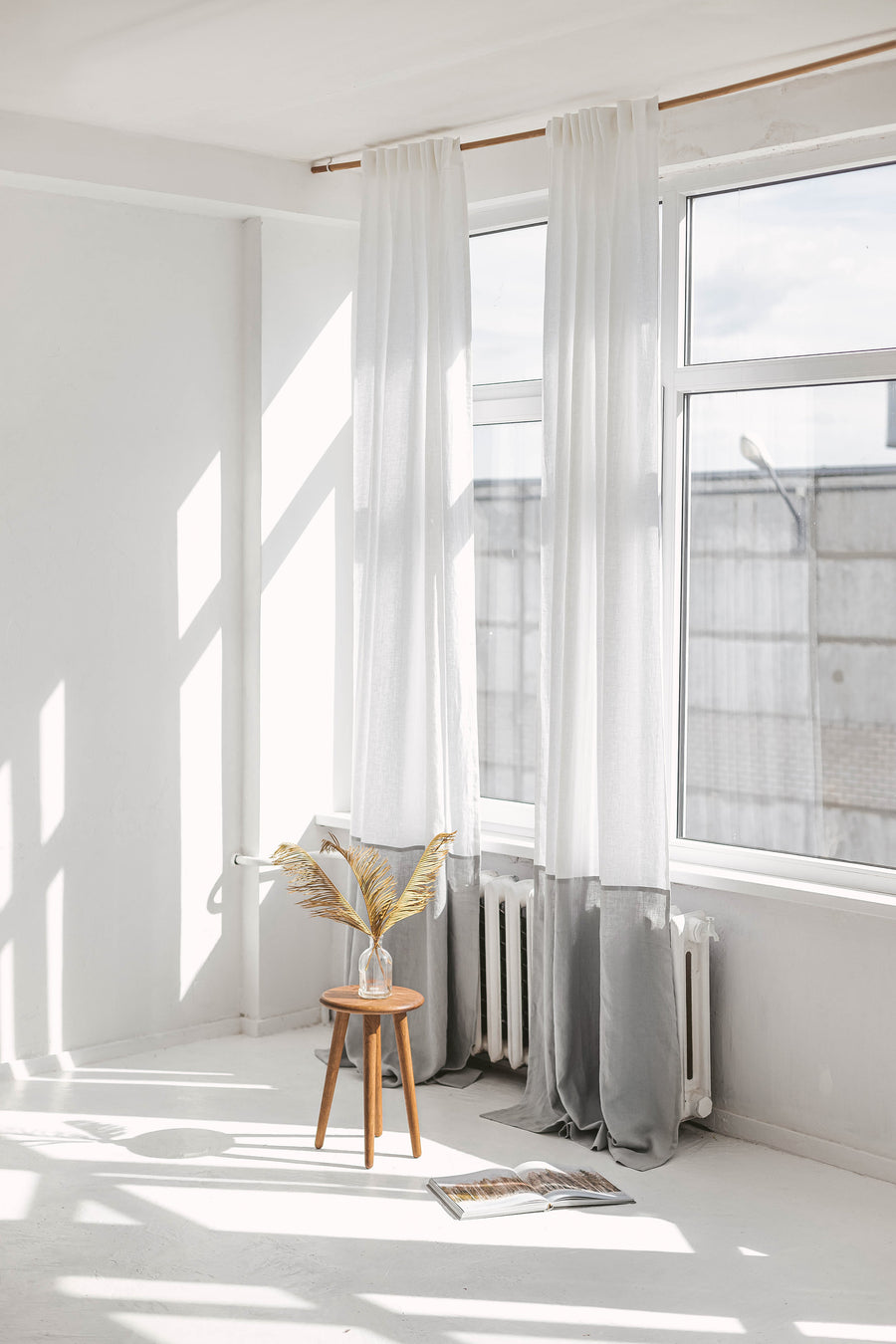 White And Cloud Gray Color Block Linen Curtain