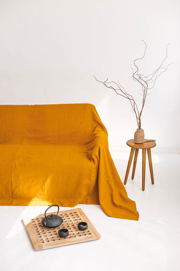 Mustard Linen Couch Cover