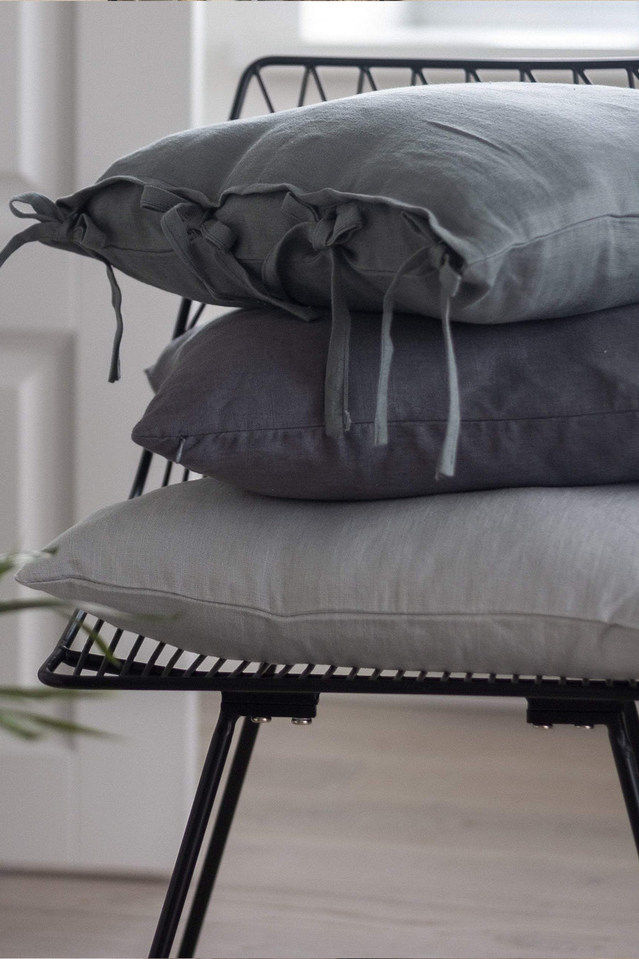 Gray Linen Pillow Case With Ties