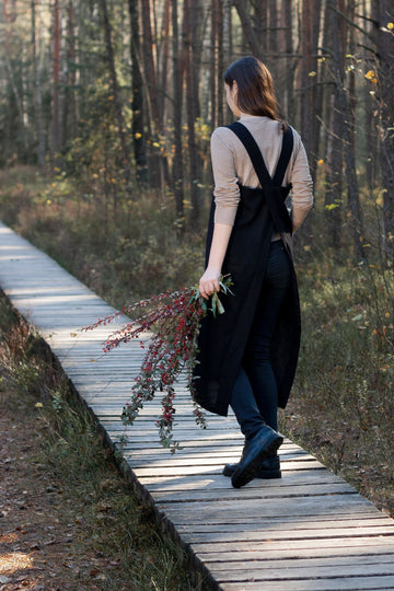 Black Linen Japanese Pinafore
