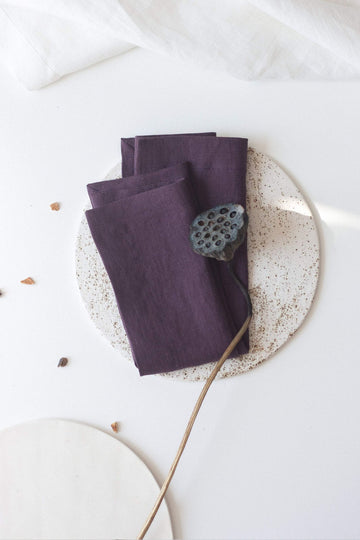 Plum Linen Napkins Set Of 2 Mitered Corners