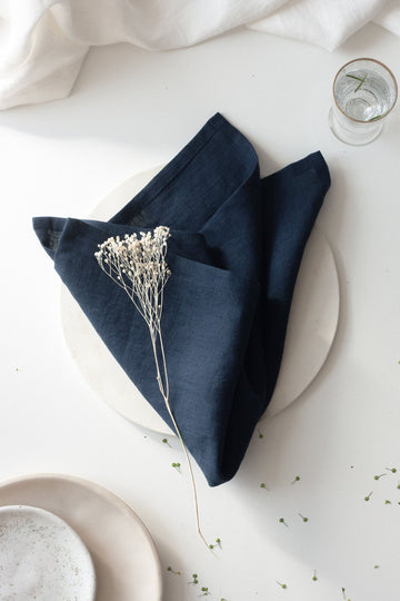 Dark Blue Linen Napkins Set Of 2
