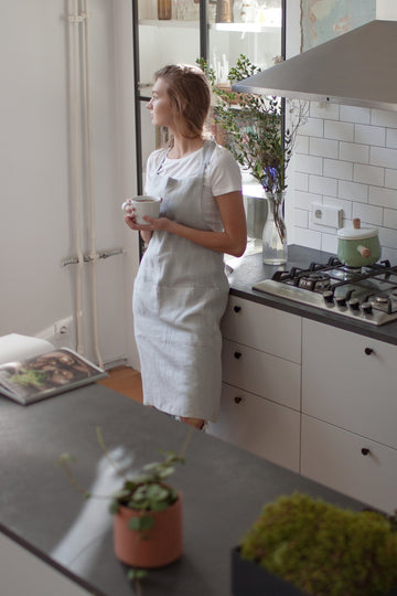 Cloud Gray Linen Apron