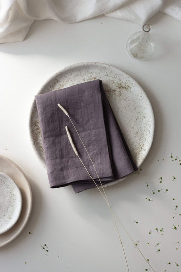 Grape Linen Napkins Set Of 2 Mitered Corners