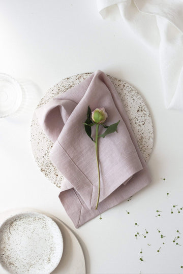 Pastel Pink Linen Napkins Set Of 2 Mitered Corners
