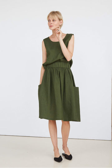 Dark Green Linen Skirt
