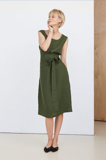 Dark Green Linen Dress