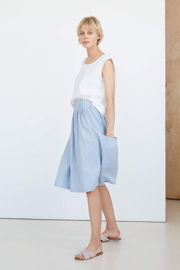 Ice Blue Linen Skirt