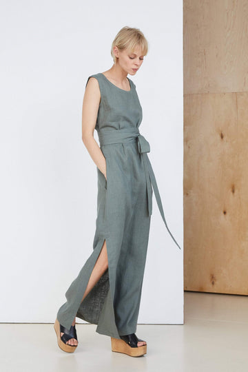Safari Green Long Linen Dress