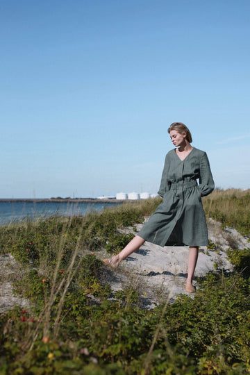 Safari Green Linen Dress With Buttons