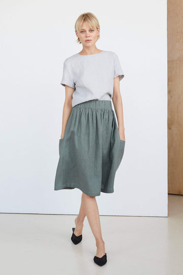Dark Green Linen Skirt With Pockets