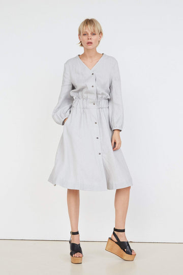 Cloud Gray Linen Dress With Buttons