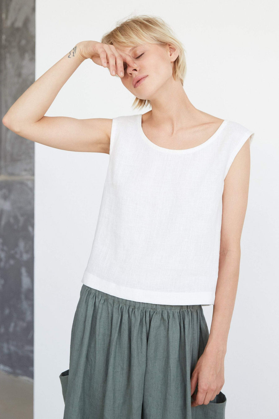 Off White Linen Crop Top