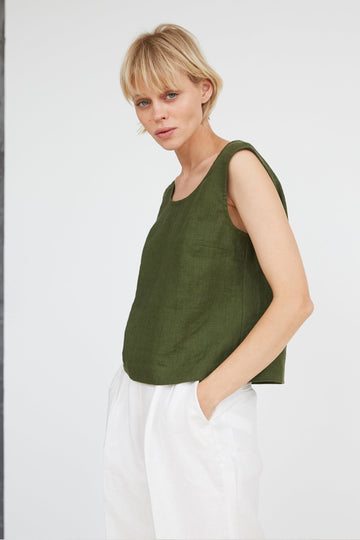 Dark Green Linen Crop Top
