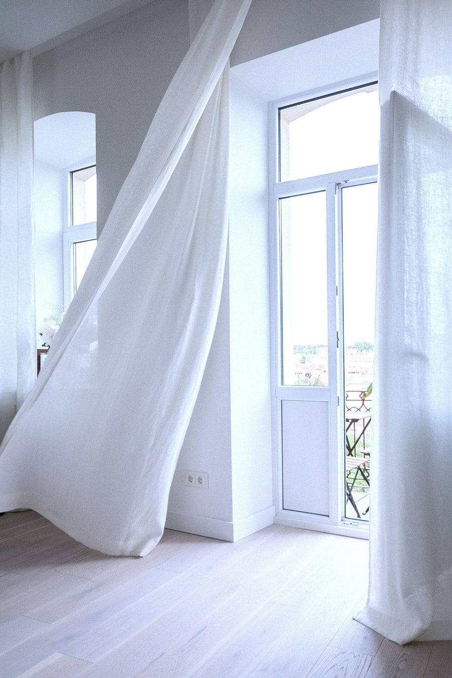 White Linen Curtain