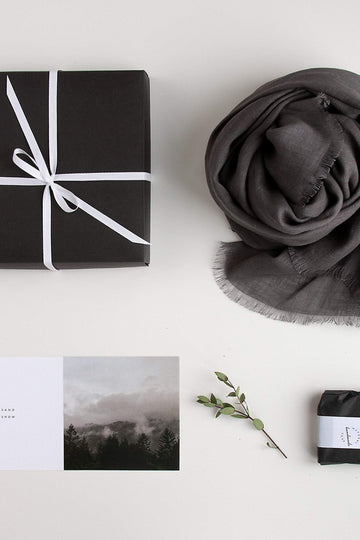 Gray Linen Scarf Gift Set