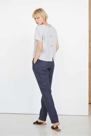 Cloud Gray Linen Top With Buttons  Edit alt text