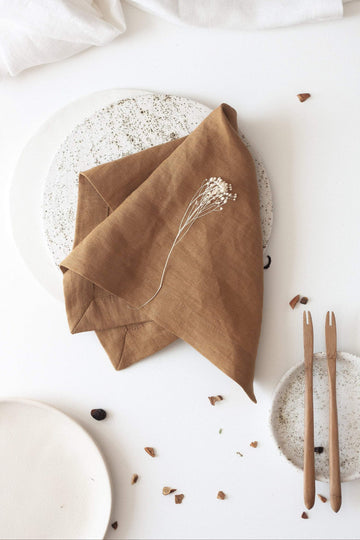 Large Amber Linen Napkins Set Of 2