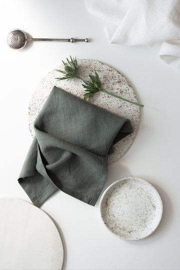 Safari Green Linen Napkins Set Of 2