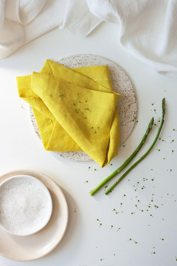 Chartreuse Yellow Linen Napkins Set Of 2 Mitered Corners