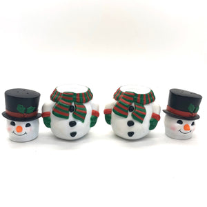 Black Top Hat Snowman Vintage Salt & Pepper Shakers