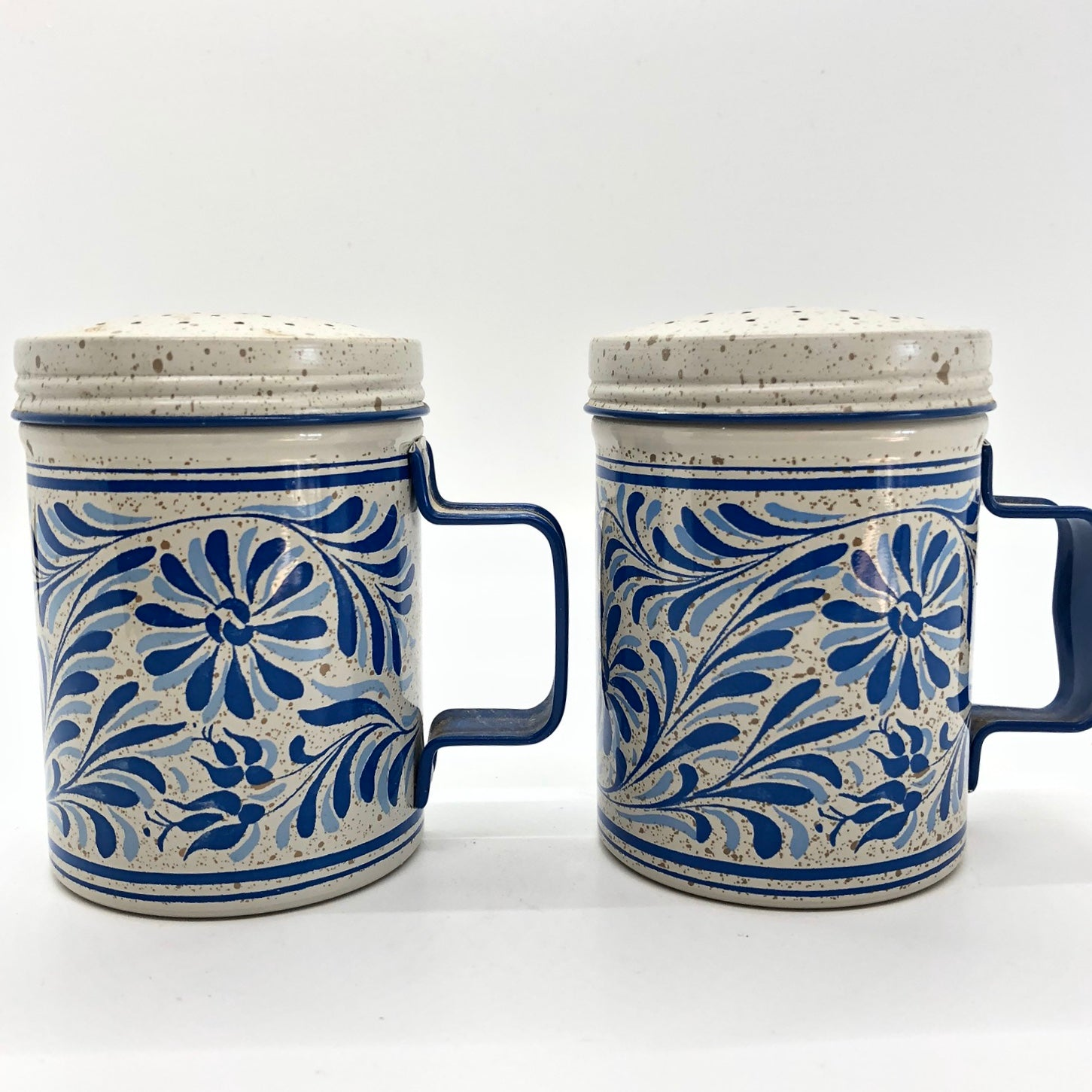 Blue Floral Canister Vintage Salt and Pepper Shakers