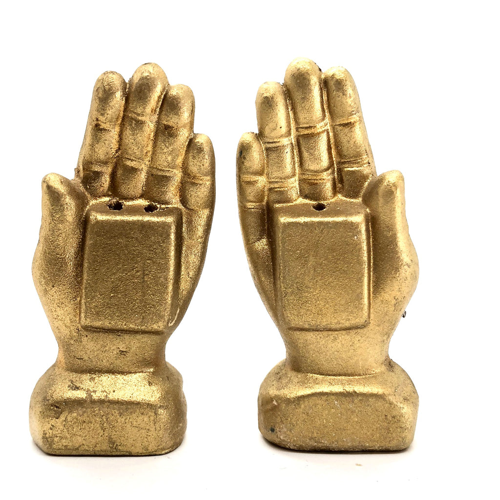 Gold Praying Hands Vintage Salt & Pepper Shakers
