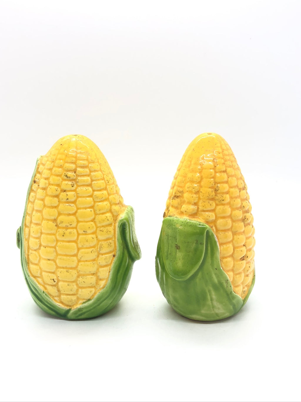 Light Green & Yellow Corn Husk Vintage Salt & Pepper Shakers