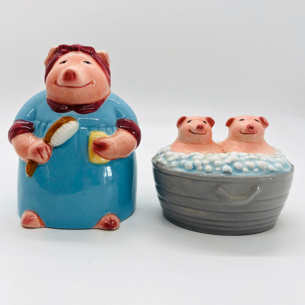 Pigs in a Bath Vintage Salt and Pepper Shakers