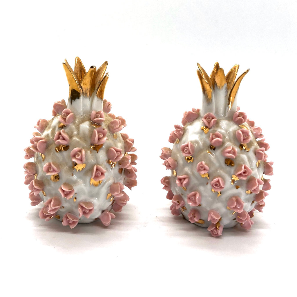 Pineapple Pink & Gold Vintage Salt and Pepper Shakers