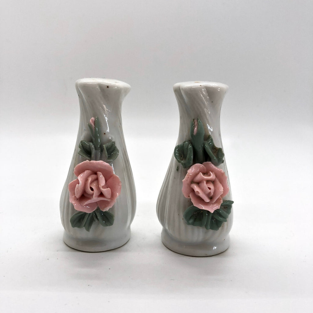 Delicate Raised Pink Rose Vintage Salt and Pepper Shakers