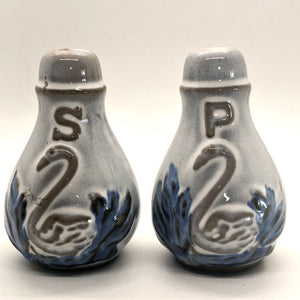 Blue & White Swan Vintage Salt & Pepper Shakers