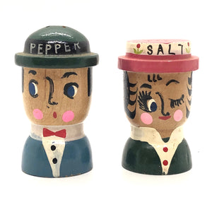 Wood Couple Vintage Salt & Pepper Shakers