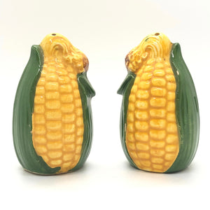 Yellow and Green Corn Husk Vintage Salt & Pepper Shakers