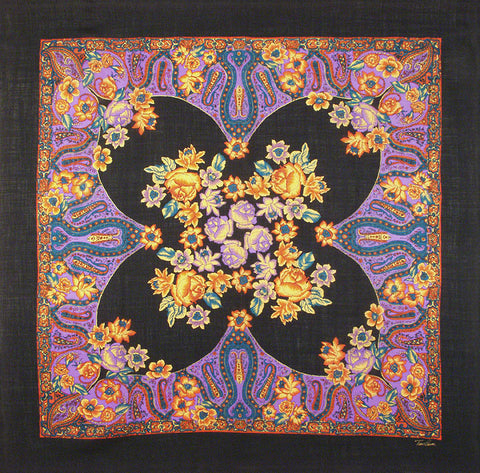 "Tino Lauri - Bright Purple Multicolor Paisley Floral 46"" x 46"" 100% Wool Shawl 22"