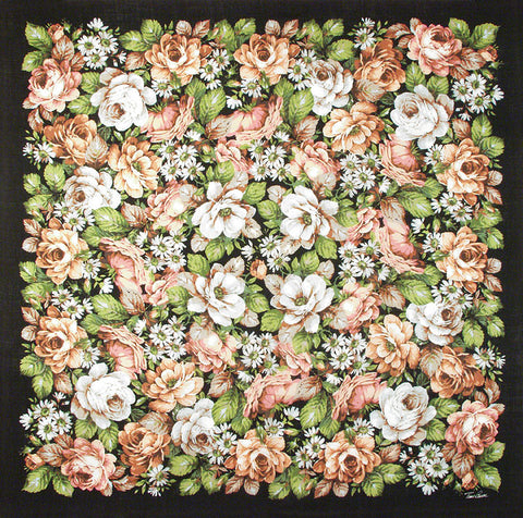 "Tino Lauri - Peach & White Roses with Daisies 46"" x 46"" 100% Wool Shawl 23"