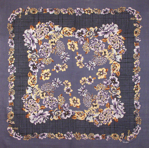 "Tino Lauri - Purple & Grey Floral 46"" x 46"" 100% Wool Shawl 25"