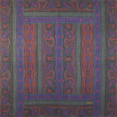 "Tino Lauri - Blue & Green Paisley 50"" x 50"" 100% Wool Shawl 28"
