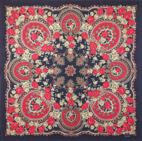 "Tino Lauri - Red & Navy Paisley 50"" x 50"" 100% Wool Shawl 29"