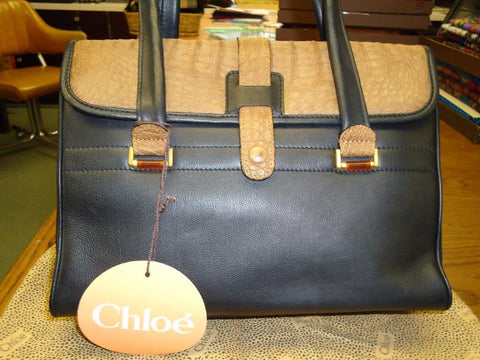 Chloe - Black Leather with Caramel Crocodile Accents Satchel - #516