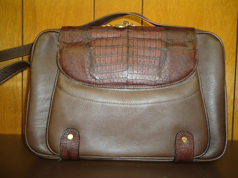 Chloe - Chocolate Brown Leather with Caramel Crocodile Accents Shoulder Bag - #498